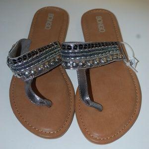 NWOB Bongo Black / Tan  Slides Slip Ons Size 8 M